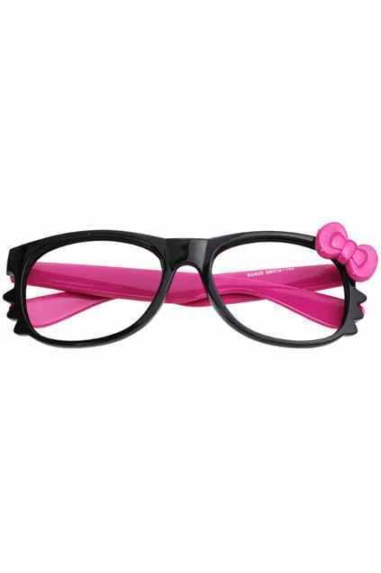 Pink Bowknot Hello Kitty  Black Glasses