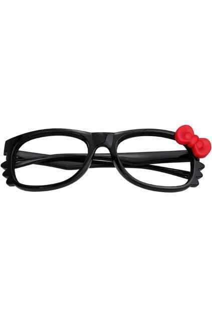 Red Bowknot Hello Kitty  Black Glasses
