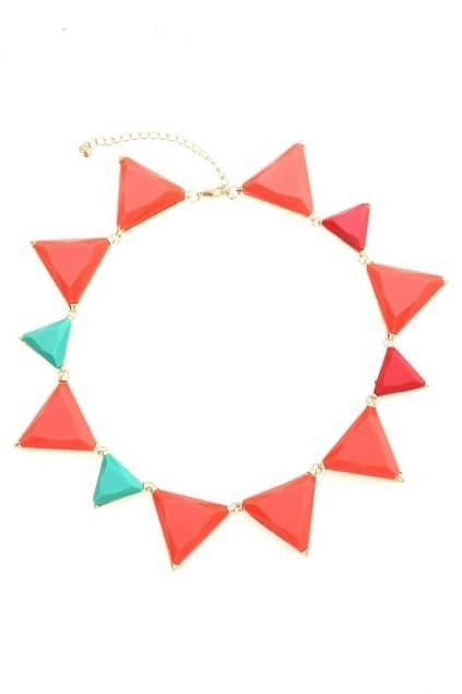 Triangle Faceted Stone Necklace
