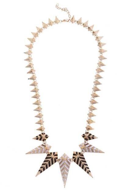 Multi Faceted Spike Gold-tone Necklace