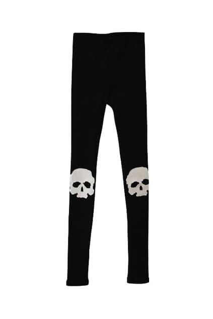Stitched Skull Punk Style Black Legging