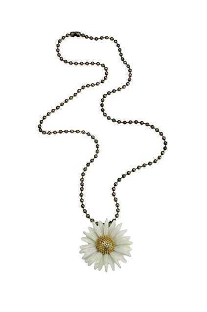 White Sunflower Pendant Necklace