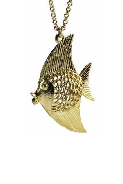 Hollow Out Fish Golden Necklace