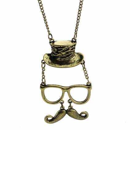 Glass And Mustache Head Necklace