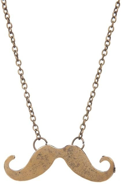 Copper Mustache Pendant Necklace