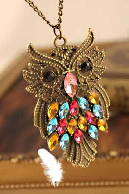 Colorful Crystals Owl Necklace