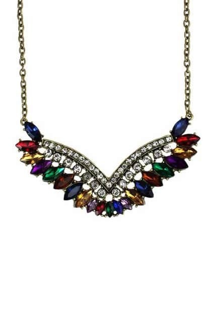 Colorful V Pendant Necklace