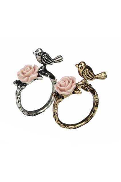 Bird And Flower Retro Ring