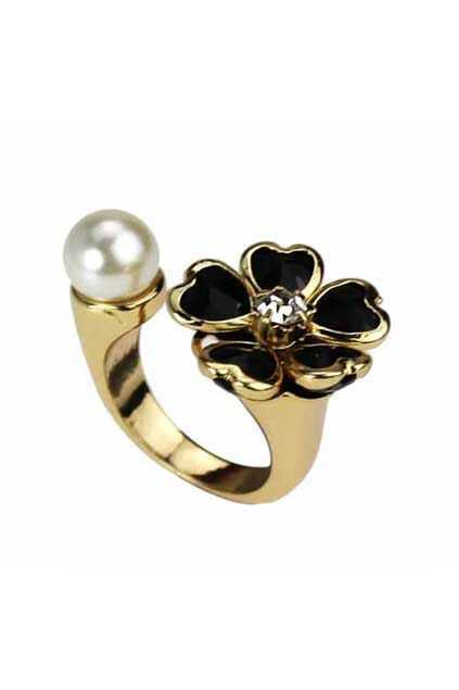 Black Flower And Pearls Open Ring
