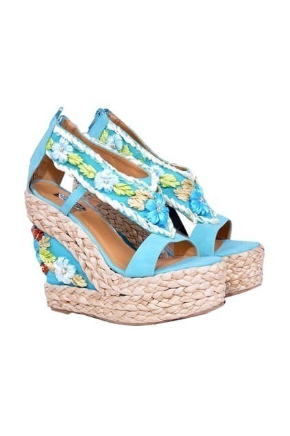Bohemian Straw Wedge Blue Sandals
