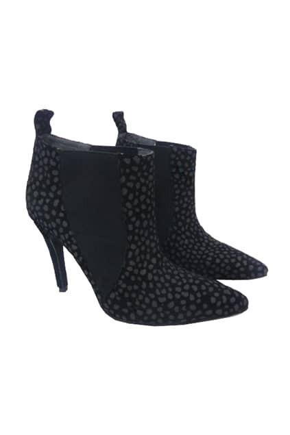 Leopard Print Black Boots
