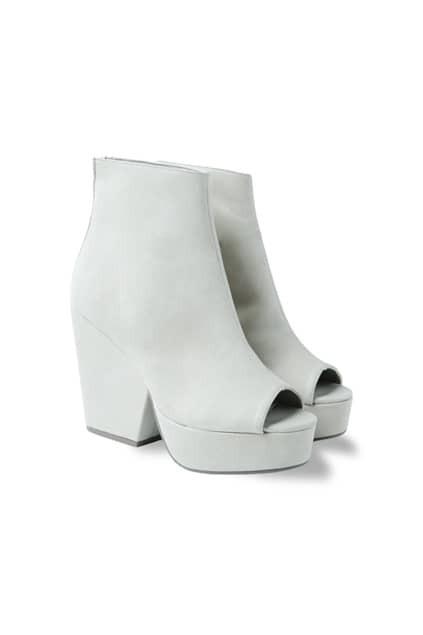 Platform Peep Beige Boots
