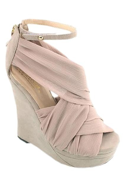 Silk Vamp Nude Pink Wedge Sandals