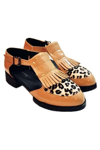 Tassel Detailed Leopard Apricot Shoes