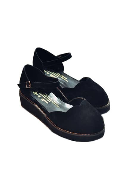 Retro Design Platform Black Shoes