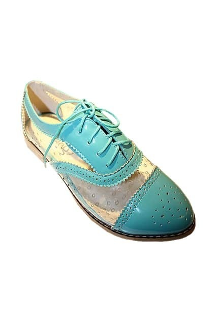 Retro Hollow Lace Skyblue Shoes