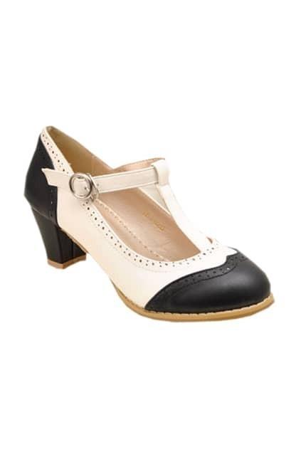 Retro Hollow Black-white Shoes