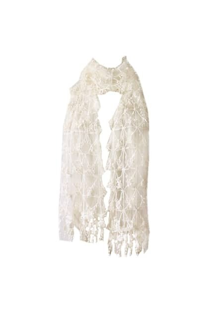 Lace Pearly-lustre Tassel White Scarf
