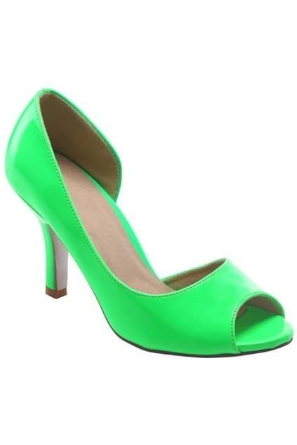 Peep Toes Heeled Green Shoes