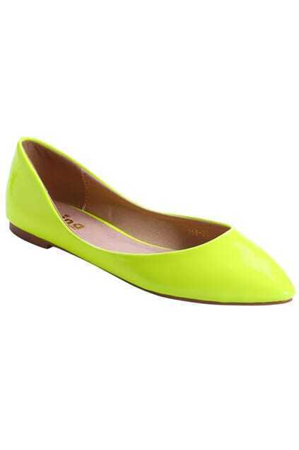 Point Toes Yellow Flat Shoes