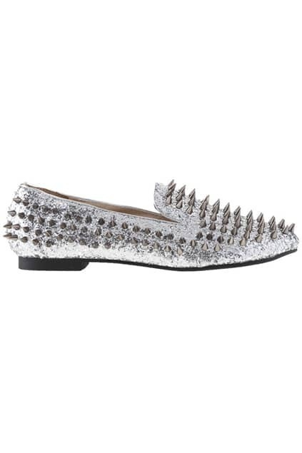All-over Riveted Sequin Silver Shoes