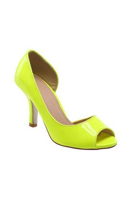 Peep Toes Heeled Yellow Shoes