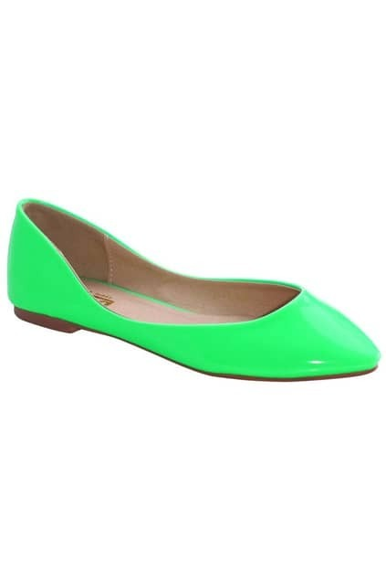 Point Toes Green Flat Shoes