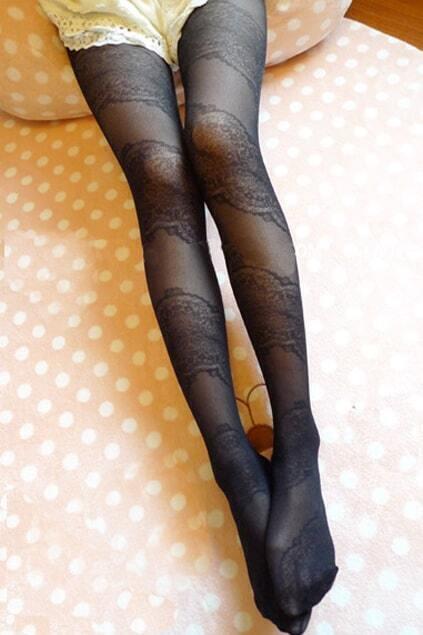Sweet Lace Slim Black Stockings