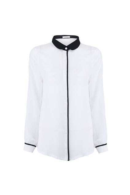 Contrast Collar White Shirt