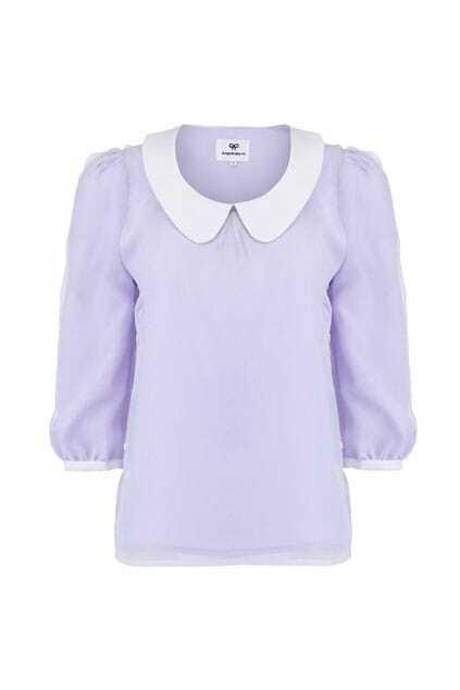 Overlay Mesh Light Purple Blouse