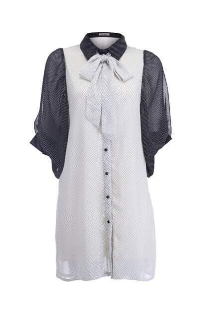 Lantern Sleeves Black-cream Shirt Dress