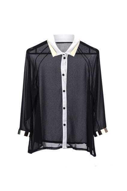 Metall Detailed Black Shirt