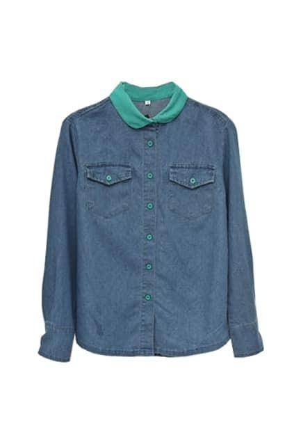 Retro Collar Color Block Green Shirt