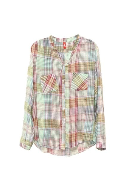 Pockets Embellished Check Shirt
