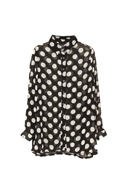 Dots Oversized Black Shirt