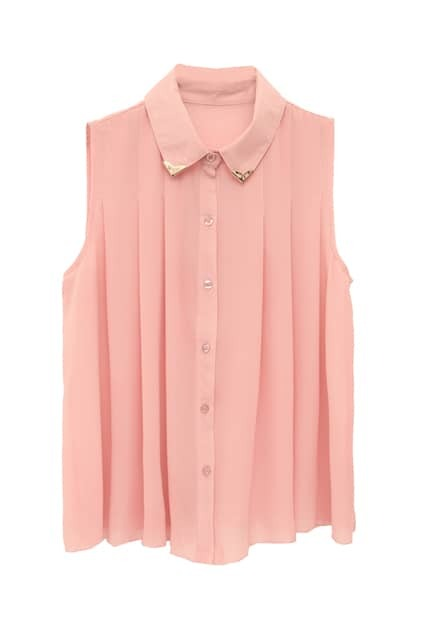 Lapel Neck Bouffancy Pink Shirt