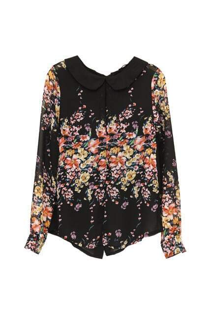 Retro Collar Flowers Print Shirt