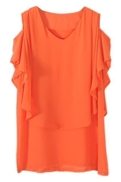 Off Shoulder V-neck Orange Shirt