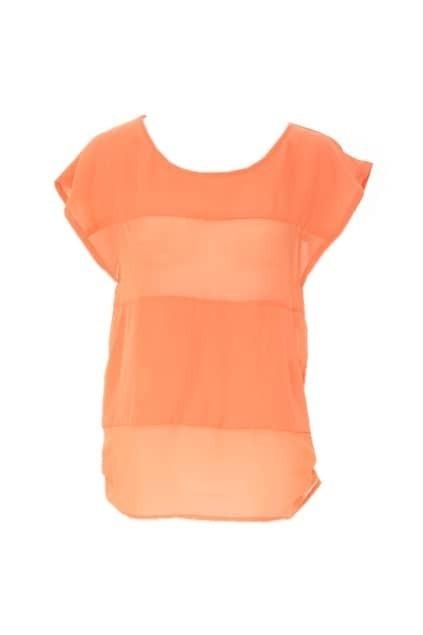 Sheer Candy Color Orange Blouse