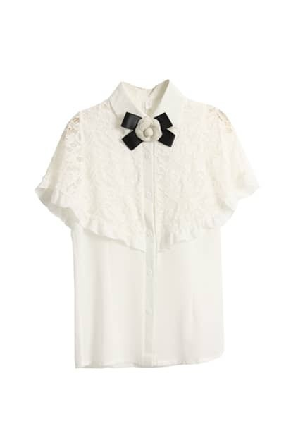 Lace Cape White Shirt