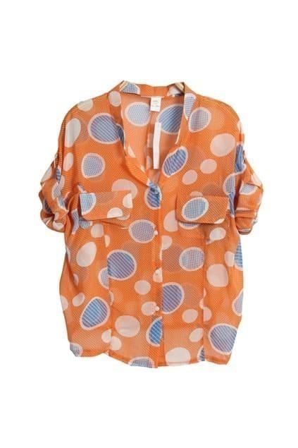 Batwing-sleeve Dots Orange Shirt