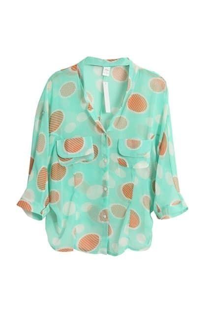 Batwing-sleeve Dots Green Shirt