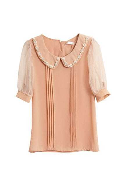 Pearl Embellished Sweet Pink Shirt