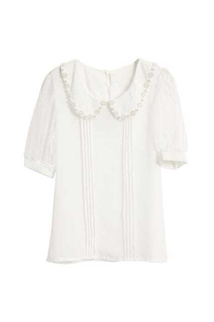 Pearl Embellished Sweet White Shirt