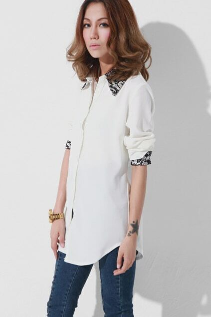 Lace Lapel White Shirt