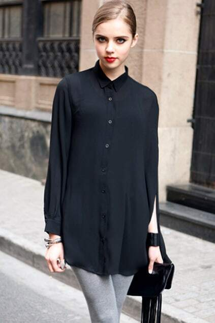 Anomalous Lower Batwing Sleeves Black Shirt