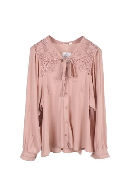 Hollow Lace Light Coffee Shirt