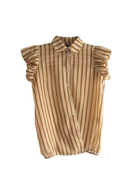 Puff Sleeves Striped Khaki Shirt