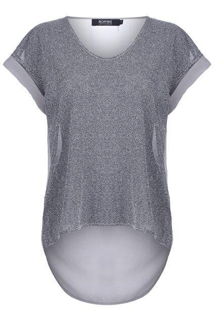Montage Chiffon Silver-tone T-shirt