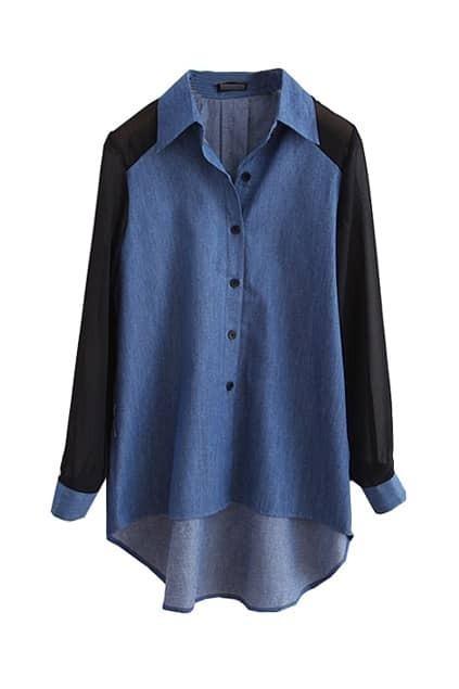 Contrast Color Dark Blue Shirt